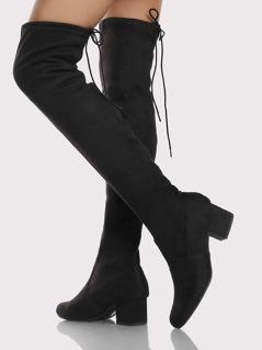 Thigh High Back Tie Drawstring Boots BLACK