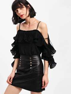 Flounce Pleated Open Shoulder Top
