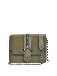 Zip Decorated Chain Flap Bag