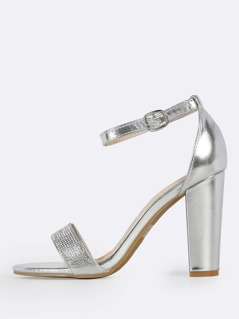 Diamond Embroidered Ankle Strap Heels SILVER