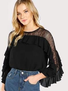 Flounce Trim Lace Shoulder Top