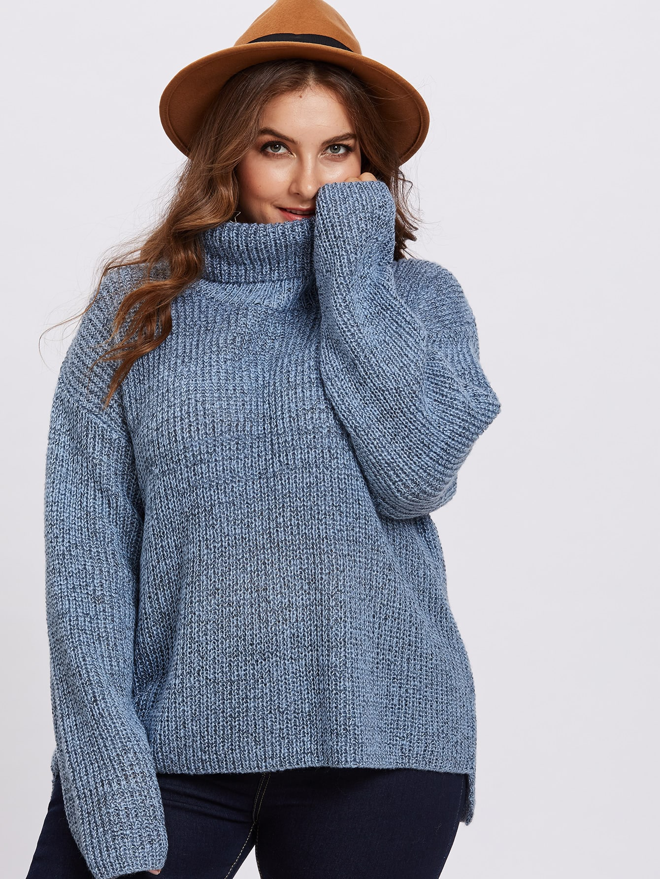 Rolled Neck Dip Hem Jumper