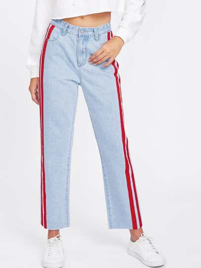 Striped Side Faded Wash Jeans