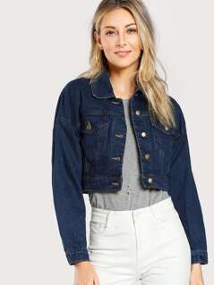 Cropped Button Up Denim Jacket DENIM