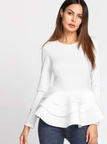 Tiered Ruffle Hem Peplum Top