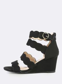 Multi Strap Solid Wedge Heels BLACK