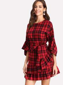 Self Belted Checked Tiered Ruffle Hem Dress