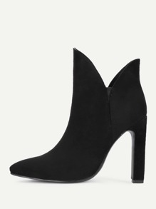 V Cut Design High Heeled Ankle Boots
