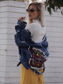 Embroidered Back Extreme Distressing Denim Jacket