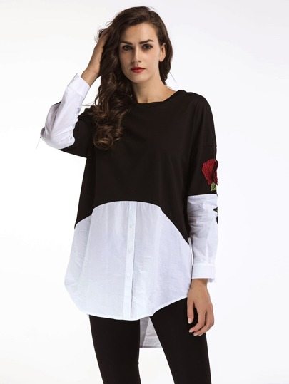 Contrast Panel 3D Rose Embroidered Sleeve Top