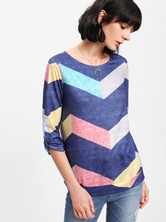 Roll Tab Sleeve Chevron Print T-shirt