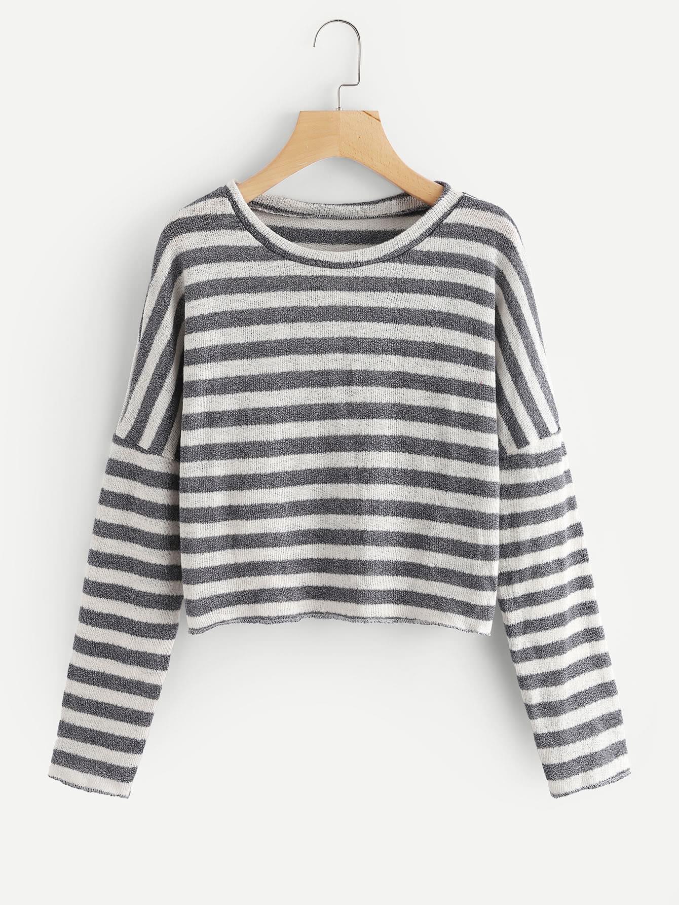 Drop Shoulder Striped Knit Sweater drop shoulder marled knit sweater