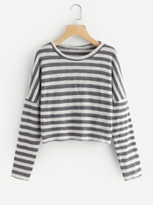 Drop Shoulder Striped Knit Sweater