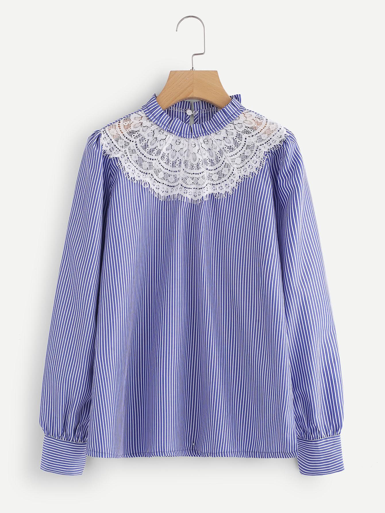Contrast Eyelash Lace Neck Pinstripe Blouse lace crochet contrast neck blouse