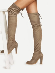 Lace Up Detail Block Heeled Suede Boots