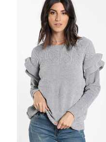 Maglione in maglia geometrica con maniche a fronzolo a strato