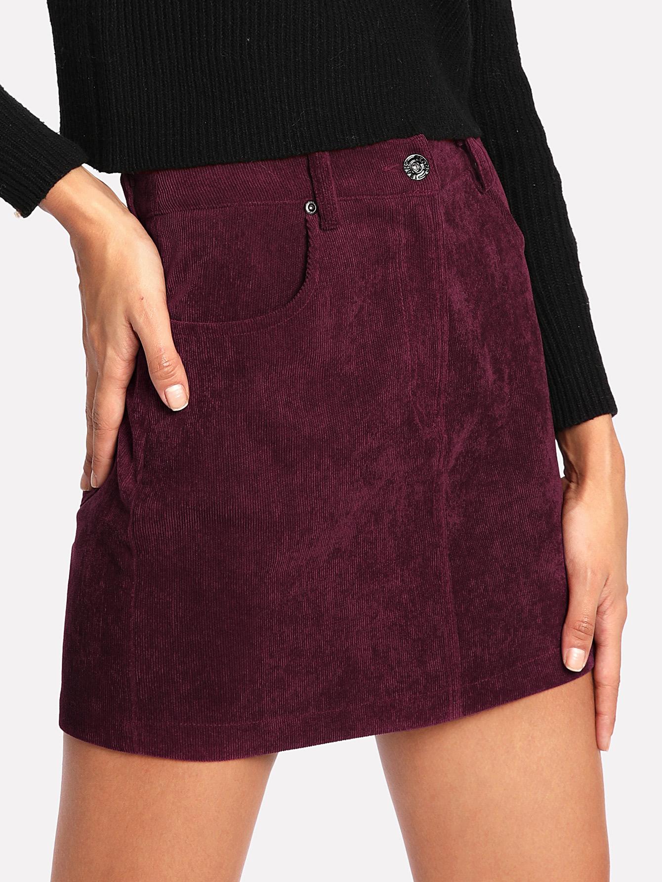 Zip Fly Cord Skirt skirt171121706