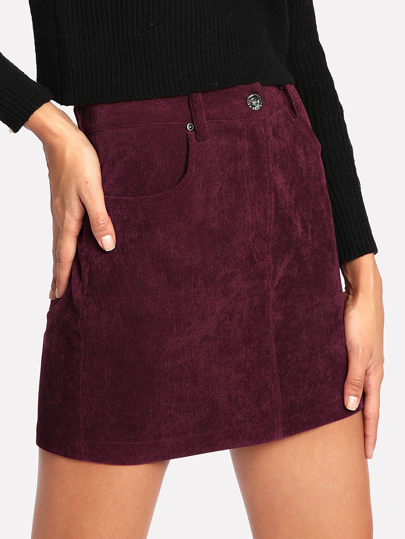 Zip Fly Cord Skirt