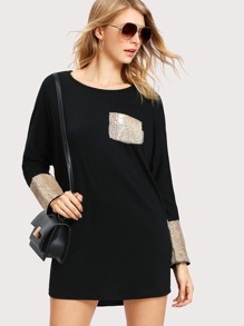 Contrast Sequin Batwing Tee Dress