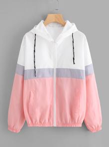 Color Block Elastic Waist Drawstring Jacket