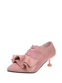 Ruffle Design Lace Up Heeled Shoes