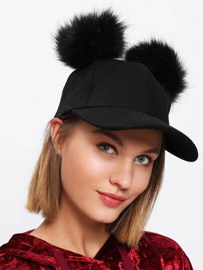 Pom Pom Ear Baseball Hat