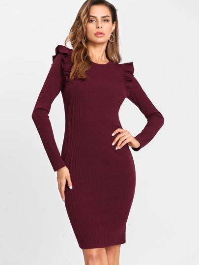 Frilled Embellished Shoulder Ribbed Knit Dress
