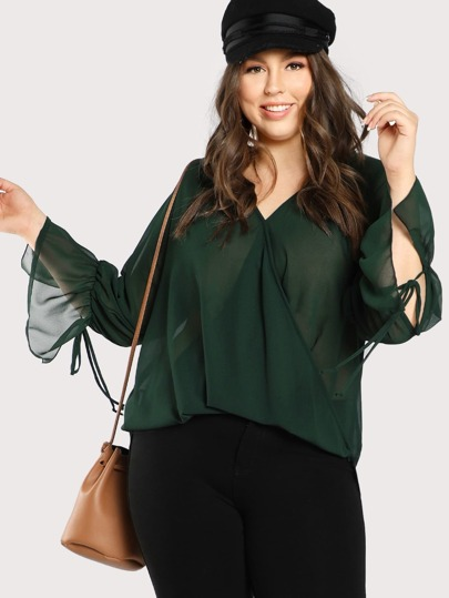 High Low Tie Sleeve Draped Wrap Top