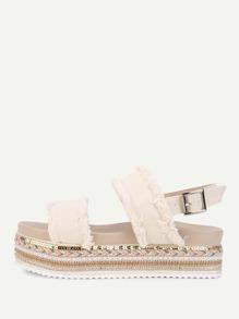 Frayed Trim Denim Flat Sandals