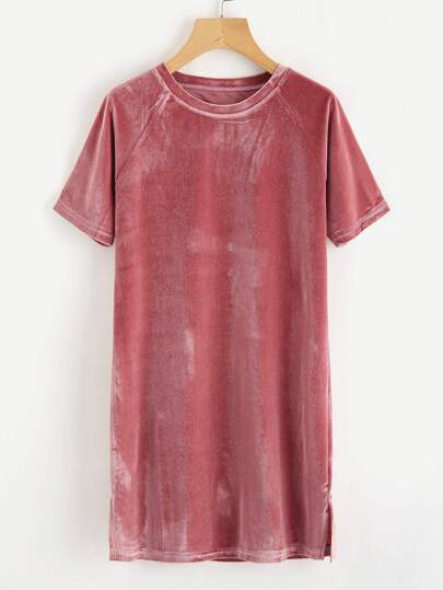 Raglan Sleeve Slit Side Velvet Tee Dress