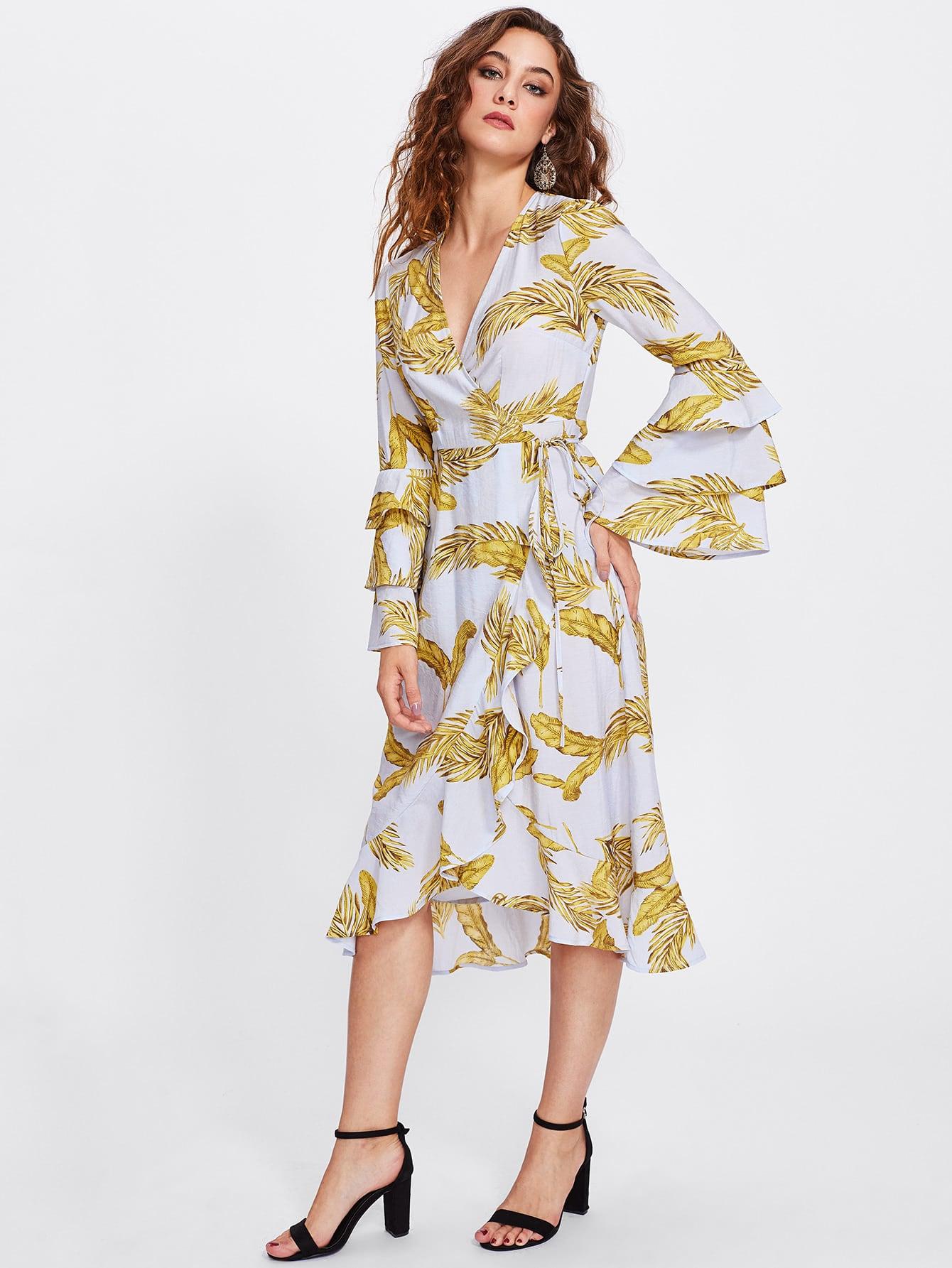 Flower Print Bell Sleeve Wrap Dress lisa corti короткое платье