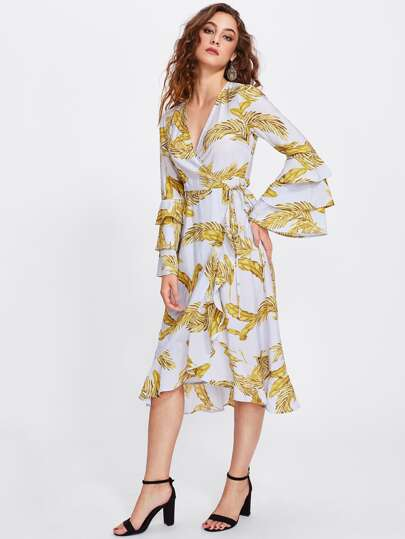 Flower Print Bell Sleeve Wrap Dress