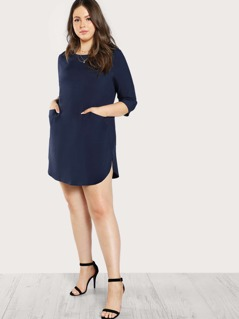Patch Pocket Front Tunic Dress