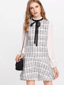 Frilled Neck Drop Waist Tweed Dress