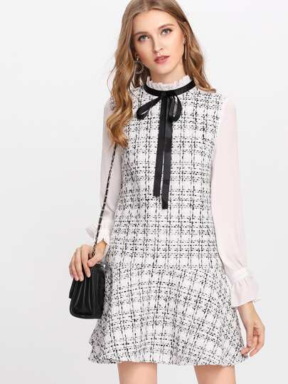 Frilled Neck Drop Waist Tweed Dress