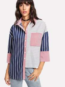Stepped Hem Mixed Stripe Shirt