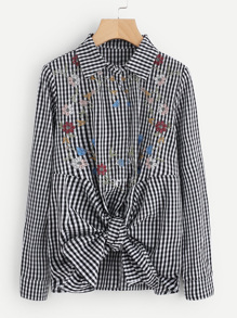 Hidden Button Knot Front Embroidered Gingham Blouse