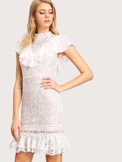 Floral Lace Overlay Flounce Embellished Dress