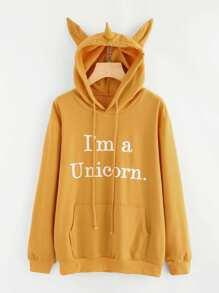 Slogan Print Unicorn Ear Hoodie With Kangaroo Pocket