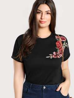 Plus Embroidered Rose Patch T-shirt