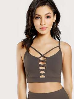 Double Criss Cross Front Sports Bra MOCHA