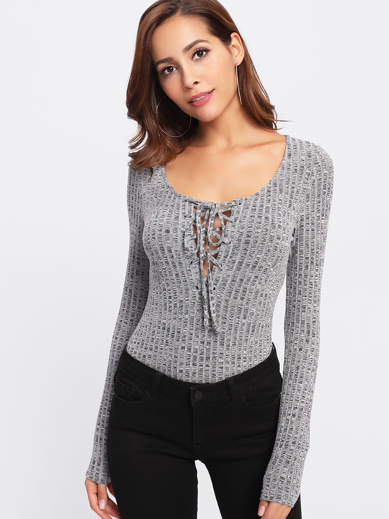 Eyelet Lace Up Rib Knit Marled Bodysuit ruffle trim rib knit strapless bodysuit