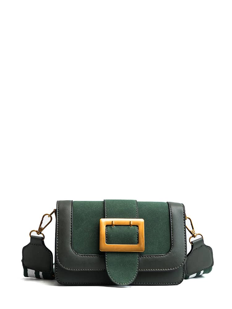 Buckle Design PU Crossbody Bag