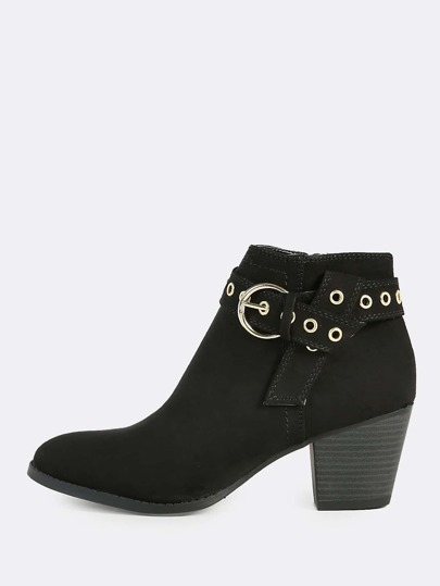 Grommet Buckle Ankle Boots BLACK