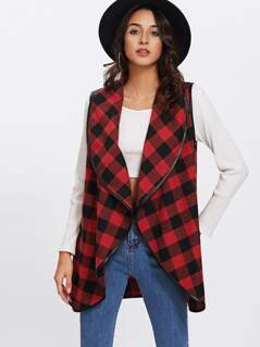 Shawl Collar Open Front Gingham Vest