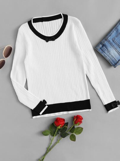 Contrast Trim Bow Detail Knit Sweater
