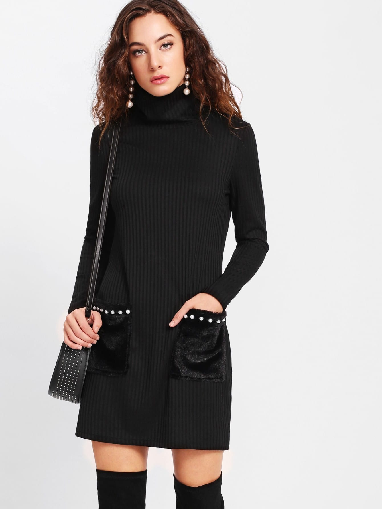Pearl Beading Faux Fur Pocket Ribbed Dress lisa corti короткое платье