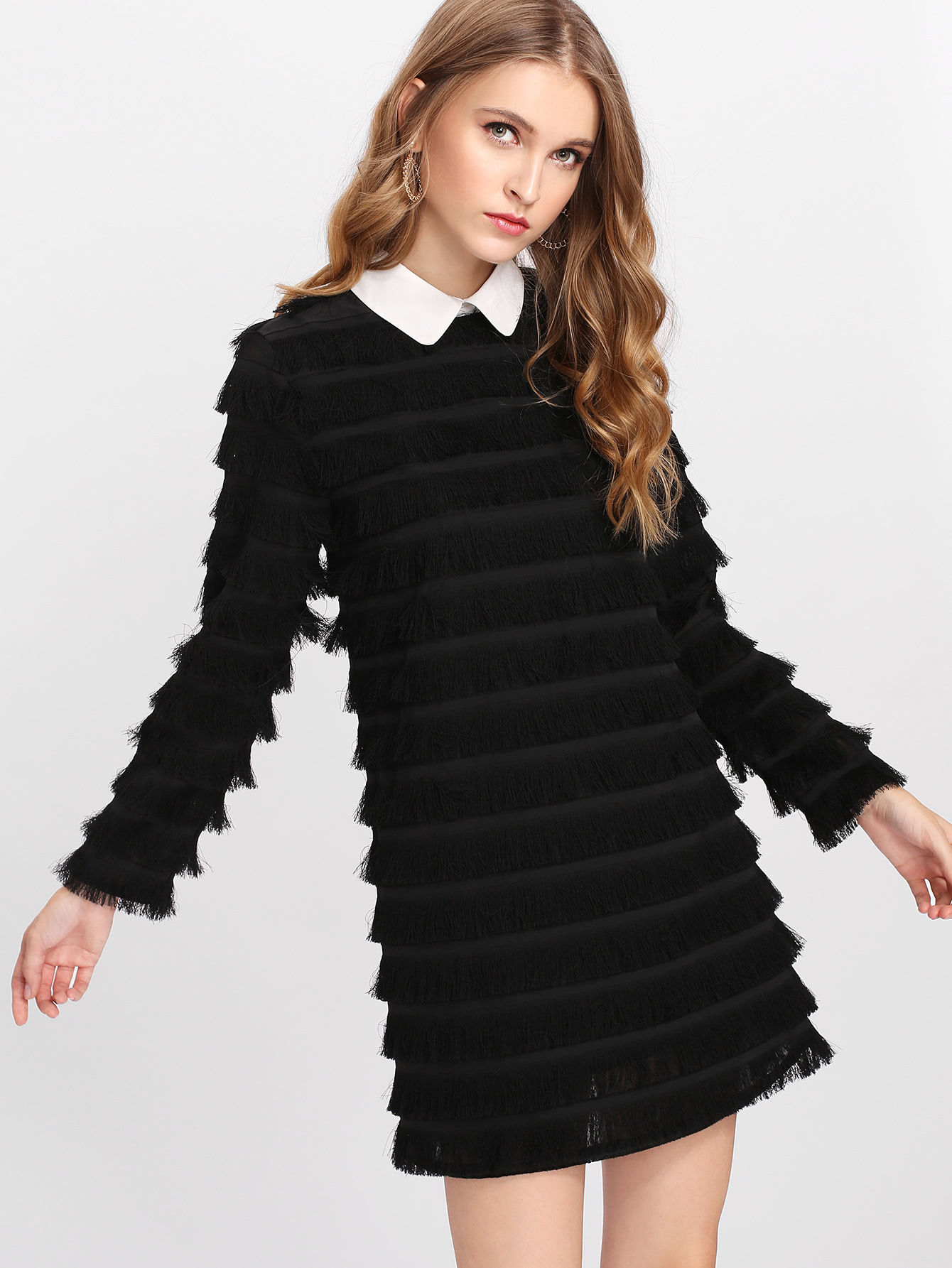 Contrast Collar Layered Fringe Dress dress171114725