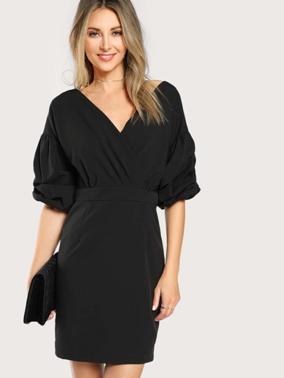 Surplice Neckline Gathered Lantern Sleeve Dress