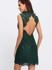 Open Back Floral Lace Dress